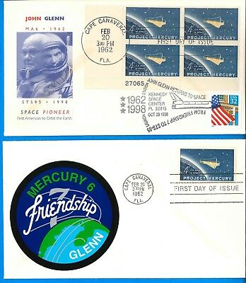 NASA envelope cover PAIR vtg '62 '98 FDC double cancel Mercury STS-95 John Glenn