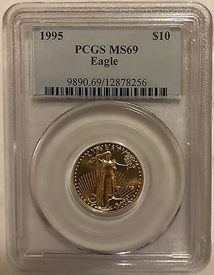 1995 Gold Eagle $10 Pcgs Ms69 Low Pop In Ms70 Only 5 Coins