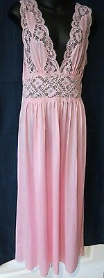 "VTG Beautiful Pink Nightgown By Lily of France Medium 17 "" X  46"""