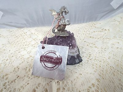 Spoontiques Pewter Dragon with Crystal on Natural Amethyst Original Hang Tag