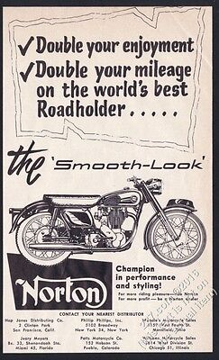 1958 Norton smooth-look motorcycle illustrated vintage print ad