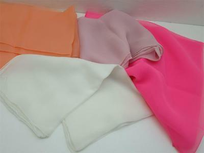 Vtg Scarf Handkerchief Lot Silk Polyester Pink Peach White Sheer All Have Tags