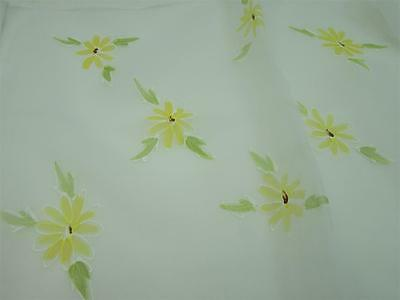 "Vintage Hand Rolled Silk Scarf Cute Daisy Watercolor Retro 37"" x 10"""