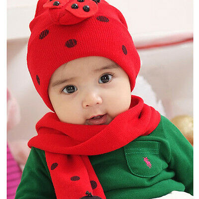 Cute Baby Toddler Boys Girls Lovely Knitted Beanie Hat & Scarf Ladybug Bee Cap