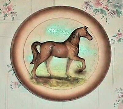 Horse 3-D Wall Plate Vintage 1964 Brown Horse Front Right Leg Up #2957