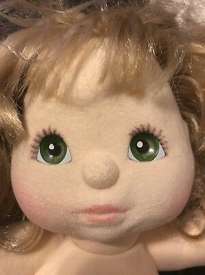VTG MY CHILD SOFT DOLL LOTS-BLOND CURLY HAIR Green Eyes W/ Clothes Socks 1985