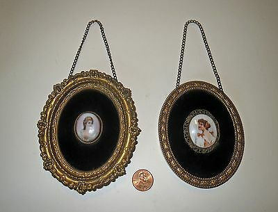 Antique Victorian MINIATURE PORTRAIT PAINTING Collection - In MINIATURE FRAMES