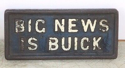 Rare Buick Newspaper Weight Cast Iron 2 Sided