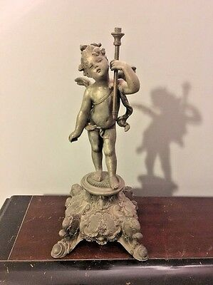 Antique Ornate Victorian Cupid Cherub Parlor Spelter Parlor Lamp Base Sculpture
