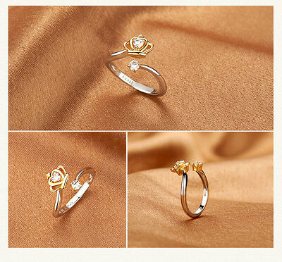 ladies Princess Prince Crown Zircon 925 Silver Plated Open Adjustable Ring Gift