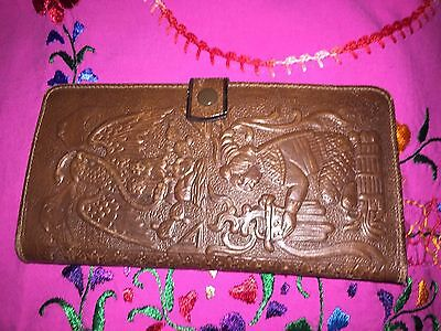 Vintage Mexican Hand Tooled Leather Wallet Aztec Design Tri-Fold Mint!!
