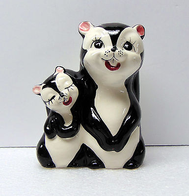 """Vintage  - Skunk - Mother and Baby / Figurine  Ceramic Bank - 7 """" tall"""