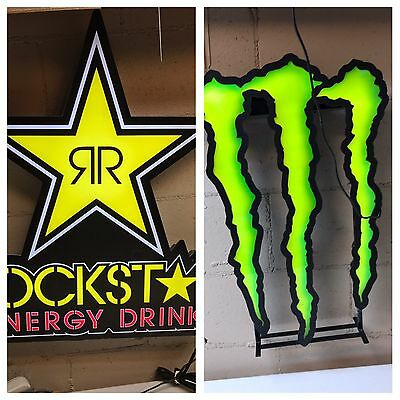 Monster And Rockstar Energy Drink Signs Window Lighted Advertising