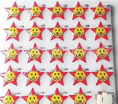 Lot Five-pointed star smile face LED Flashing Light Up Badge/Brooch Pins DIY