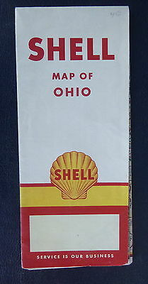 1956 Ohio  road  map Shell  oil gas Canada Cleveland