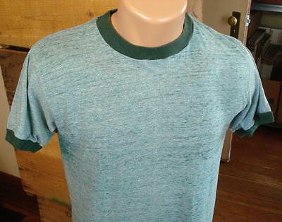 70s Vintage JC Penney Paper Thin Green Ringer T-Shirt -Size M