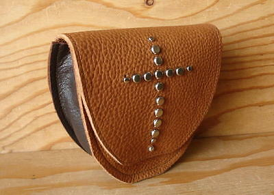 Studded Tan Leather Belt Loop Fanny Waist Pack Travel Pouch Bag