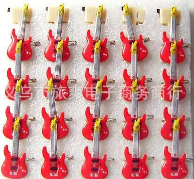 Wholesale Lot Red Guitar LED Flashing Light Up Badge/Brooch Pins Christmas Party