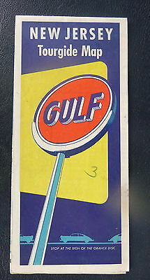1953  New Jersey road  map Gulf oil gas