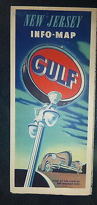 1940 New Jersey road  map Gulf oil gas