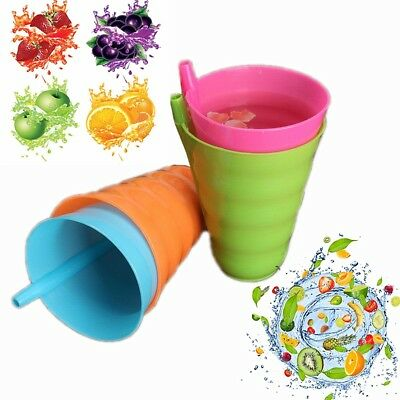 Kid Children Infant Baby Sip Juice Cup with Built in Straw Mug Drink Home Colors