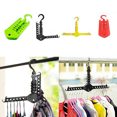 1pc Useful NEW Clothes Hanger No Need Folding Dual Hanger Folding Clothes