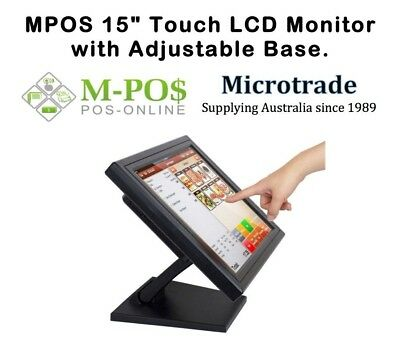 "POS 15"" LCD Touch Screen Point of Sale Monitor. Adjustable & VESA Mounted. NEW!"