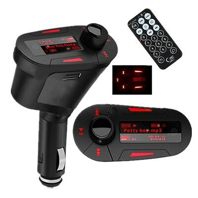 Wireless RED LCD FM Transmitter Modulator Car Kit MP3 Player SD MMC USB CHARGER