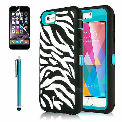 For iPhone 6S/6 Zebra Hybrid Shockproof Hard Rugged Heavy Duty Cover Case Blue