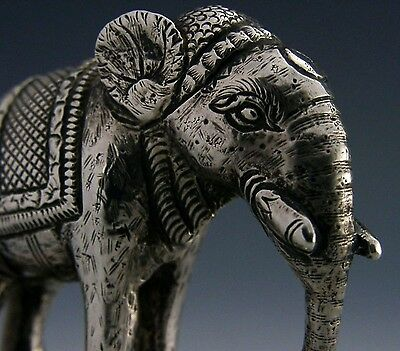 SUPERB SOLID SILVER ANGLO INDIAN COLONIAL ELEPHANT FIGURE c1900 HEAVY 83g