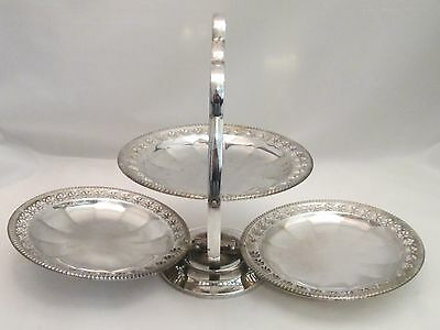 A Good Folding Silver Plated Cake Stand / Platter - early 20th Century