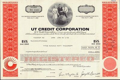 UT CREDIT CORPORATION : UNITED TECHNOLOGIES    USD 240,000.00 old bond 1977