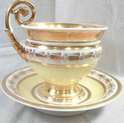 oversized Antique Old Paris Porcelain Cabinet Cup & Saucer France c1850