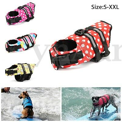 Pet Life Jacket Vest Dog Float Preserver Security Protect Aid Puppy Swim S-XXL