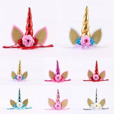 Kids Baby Girl Infant Unicorn Horn Crown Hair Band Headwear Headband Accessories