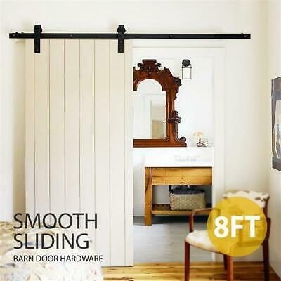 8ft Sliding Barn Door Wood Door Hardware Set Kit Rustic Black Barn Sliding Track