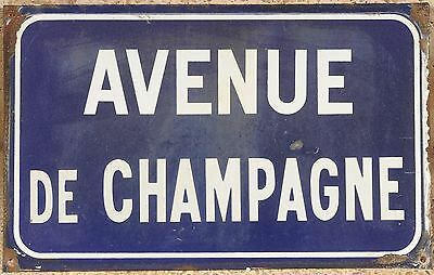 Old French enamel steel street sign road name plaque plate Avenue de Champagne