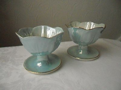 Two Vintage Maling Lustre Pale Blue Sundae Dishes