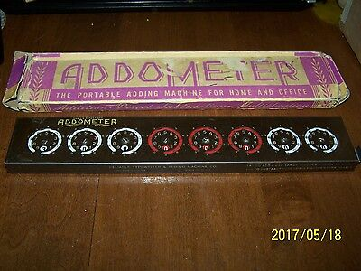 * Neat Collectible Old Addometer Portable Adding Machine With Box Case....
