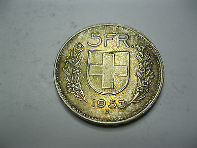 Suisse. Switzerland. 5 Francs. Argent. 1953