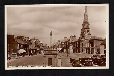 Selkirk - Market Place and Scott Monument - real photographic postcard