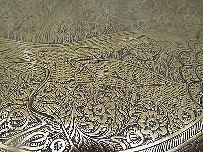 """Vintage 12 """" Tray Etched Hindu / Indian Pattern Brass Silver Coloured Metal Back"""