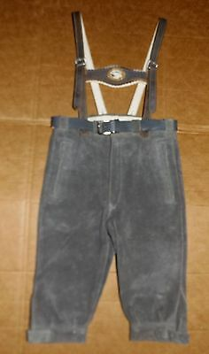 Authentic Vintage New Child's German Lederhosen leather knee pants suspenders