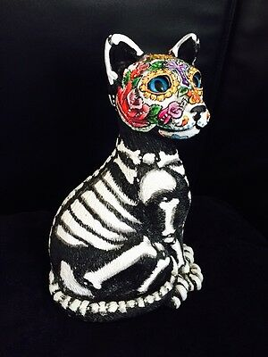 Day of the Dead Cat Bank Statue Painted  Art Dia de los Muertos Kitty Siamese
