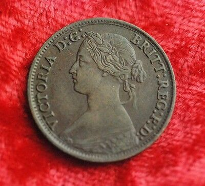 1865 Great Britain 1 Copper  Farthing       Victoria Young Head.  Nice Portrait.