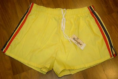 NEW Vtg 70s 80s Yellow CASTAWAY Athletic Track Shorts Mens LARGE swim trunks NWT