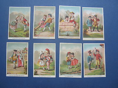 Set of 8 Old 1880's French Victorian TRADE CARDS - Children Couples / Soldiers