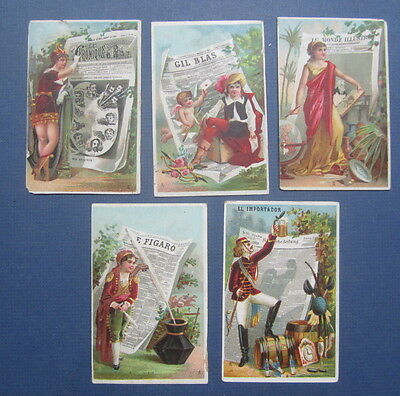 Set of 5 Old 1880's French Victorian TRADE CARDS - NEWSPAPERS