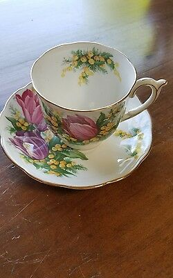 Vintage Queen Anne  Bone China Tulip Time Floral Tea Cup & Saucer England