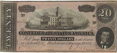 1864 $20 Dollars Confederate Currency Banknote Note Money Bill Cash Civil War